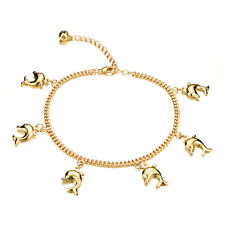 Gold Gp Jewelry Ankle Bracelet Gift Cute Dolphin Link Chain Adjustable Yellow