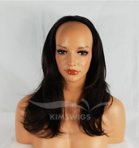 """BLACK/DARK BROWN LONG LADIES 3/4 WIG HALF WIG FALL CLIP IN HAIR PIECE 18"""" #2 UK"""