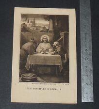 CHROMO 1924 IMAGE PIEUSE CATHOLICISME HOLY CARD COMMUNION DISCIPLES D'EMMAÜS