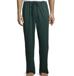 Stafford Mens Sleep Lounge Pajama Pants Classic Fit Green Neat Size L-XXL