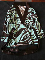 """Turquoise Blue & Brown V Neck Stretch Top by Evita in Size 10 - Chest  36"""""""