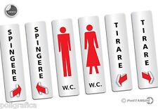 Targhetta adesiva verticale a scelta tra i 6 soggetti: Spingere/Tirare/W.C.