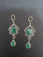 Sterling Silver Eilat King Solomon Stone Yemenite Filigree Square Drop Earrings
