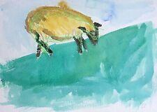 """John edwards (1938-2009) mis en vente """"moutons au pâturage"""" aquarelle et cire crayon 1993"""