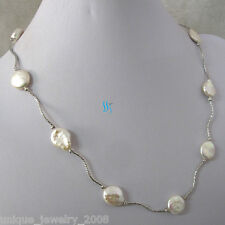 """Pearl Necklace Metal Tube W 21"""" 13-14mm White Coin Freshwater"""