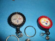 """#2  STEEL CURTAIN STEELERS Retractable Reel ID Badge Belt Clip ,1"""" Key Ring"""