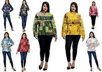 Indien Coton Femme Veste Hiver Patchwork Réversible Blazer Taille Manteau