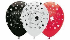 "6 PRINTED LATEX BALLOONS 12"" CARDS MAGIC HELIUM BIRTHDAY MAGICIAN CASINO PARTY"