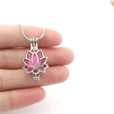 """K-P52 add Real Pearl Cage Lotus Diffuser Locket Steel Snake Chain 22"""" Necklace"""