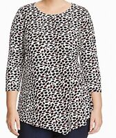 Vince Camuto Womens Blouse Black Size 1X Plus Feline Side Ruched $89- 506