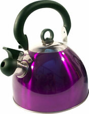 Purple Stainless Steel Whistling Kettle 2.5L Stove Top Hob Kitchenware Camping