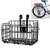 Black Mountain Bike Folding Wire Basket Foldable Bicycle Basket Coarse Frame