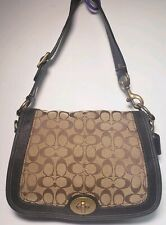 COACH LEGACY SIGNATURE CANVAS W/BROWN LEATHER TRIM SHOULDER BAG PURSE #11147