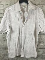 BANANA REPUBLIC Mens Stretch Short Sleeve Shirt Size XL Slim Fit Striped