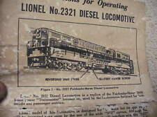 1950s Era How to Operating Lionel # 2321 Diesel Locomotive  Instruction Sheet