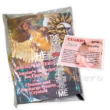 CUARZO ROSA Cristal Natural Pendiente/Dije -INSTRUCTIONES Energia Amor Amuleto