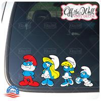 Smurf Family Stick Figure Car/Truck/Vehicle Waterproof UV Laminate Sticker