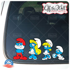 Smurf Family Stick Figure Car/Truck/Vehicle Waterproof UV Laminate Sticker