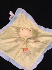 """Just One Year I Love Hugs Green Blue Lovey Security Blanket Frog Plush 14"""" x 14"""""""