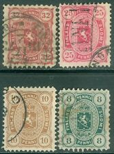 FINLAND : 1875-81. Scott #19-20, 22-23 All are Very Fine, Used. Catalog $215.00.