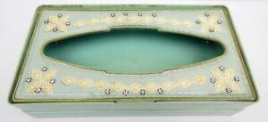 4B Pearl-Wick Green Tissue Box Holder Plastic Jeweled Vintage MCM Bathroom Wall