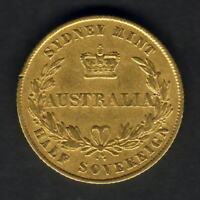 Australia.  1857 Sydney Mint -Half Sovereign.. VF - Part Lustre..