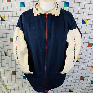 Vintage Retro 90s Tommy Hilfiger Zip Up Fleece Top Jumper Mens Size XL 1990s