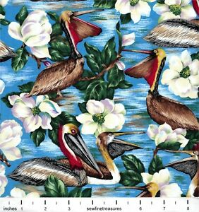 Louisiana State Bird Brown Pelican Flower Magnolia Suzan Ellis Fabric FQ 1/4 YD