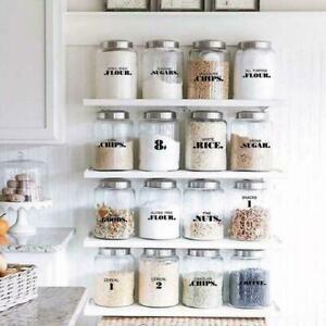 132Pcs Sheets Kitchen Pantry Labels Transparent Waterproof Jar Stickers H2K3