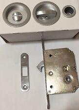 Kit maniglia serratura porte scorrevoli finitura CROMO SATINATO Comit rosetta to