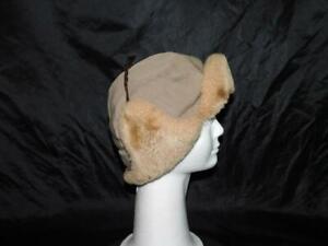 Vintage Laskin Mouton Brown Wool Flap Hat Mens S Winter Shearling Trim Ear Flaps