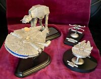 LOT Star Wars Millennium Falcon, AT-AT, X-Wing Pewter Franklin Mint / Rawcliffe