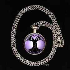 """Tree of Life Glass Image Pendant necklace 22"""" pagan gift present UNIQUE hare owl"""