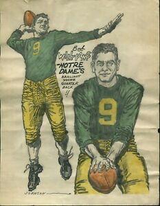 ORIGINAL 1949 BOB WILLIAMS NOTRE DAME COLLEGE FOOTBALL COLOR DRAWING