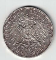 GERMANY GERMAN STATES PRUSSIA 1904 A 5 MARK WILHELM II .900 SILVER COIN