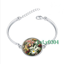 ORCHIDS by Ernst Haeckel glass cabochon Tibet silver bangle bracelets wholesale