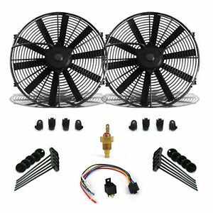 """Super Cool Pack w/ 2 14"""" Fans Fixed Temp Switch Harness & Brackets & Additive"""