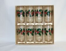 Holly Berry & Leaf Beverage Glass (Set of 8) 1960's Vintage Holiday Glass