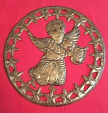 """Shabby Chic Hand Crafted Steel Angel Wall Plaque - 11"""" Diameter"""