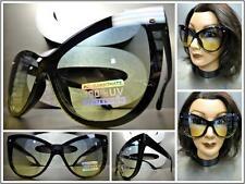 CLASSIC VINTAGE RETRO CAT EYE Style SUN GLASSES Black Frame Green & Yellow Lens