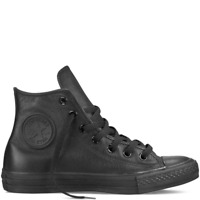 Mens Converse Sneakers Unisex Hi Leather Black Mono Casual Athletic Shoes Size 7