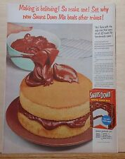 1948 vintage magazine ad for Swans Down Cake Mix - Large photo of cake frosted