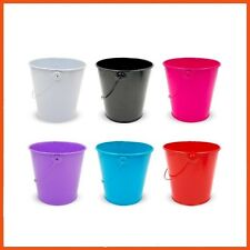 24 x BRIGHT COLOUR METAL BUCKET with HANDLE Home Decor Plants Party Favours