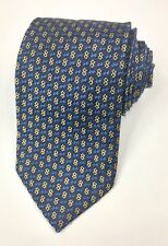 Equestrian Firenze BLUE GOLD NECK TIE 100% SILK Mens Necktie Made in Italy