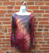 Vintage 90s 2000s Sheer Tie Dye Tunic Womens Bell Sleeves (1521)