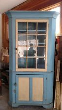 F41394: Antique Pine Primitive 12 Pane 1 Piece Corner Cabinet Cupboard