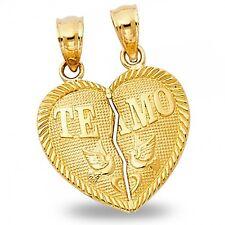 Heart Te Amo Pendant 14k Yellow Gold Breakable Love Charm 2 Piece Diamond Cut