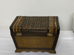 "Vintage Rattan Wicker Wood Box Treasure Chest Storage Trunk  Bombay Style  8""x6"""
