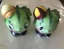 Japan PY Anthropomorphic Watermelon Fruit Boys Salt And Pepper Shakers.