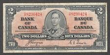 1937 $2.00 BC-22c F-VF ** SCARCE George VI COYNE Paper Money Canada Two Dollars